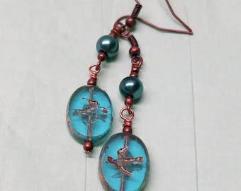 Blue glass sparrow earrings