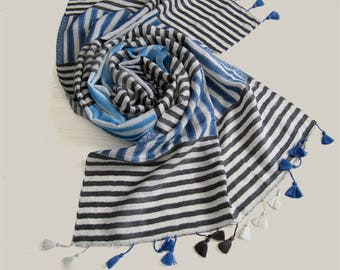 Striped cotton and linen scarf, summer scarf, blue striped scarf, cotton scarf, pompom scarf, blue scarf, gift for women