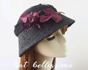 Black Cloche Hat  summer hats Vintage Style hat straw hat hatbellissima