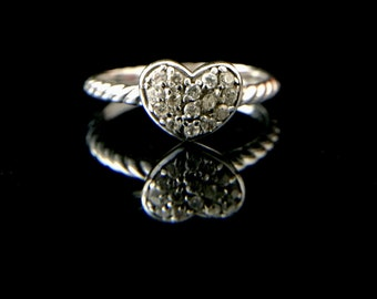 Heart shaped sterling silver and cz ring, Size 8