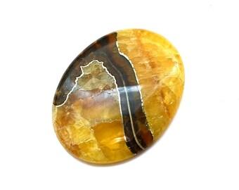 Simbircite ammonite with pyrite natural stone cabochon  41 х 32 х 5 mm