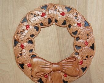 Holly Wall Wreath ~ Wood Wall Wreath ~Christmas Wall Wreath ~ Front Door Wreath ~ Rustic Wreath ~ Painted Wood Wreath ~ Unique Wall Wreath