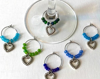 Handmade Wine Charms (Set of 6) - Her Body Says Water, Her Heart Says Wine