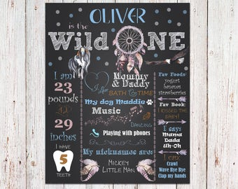 Wild One First Birthday Poster, Wild One 1st Birthday Sign, Tribal Dream Catcher Feather Arrow First Birthday Poster, Boho Birthday Poster