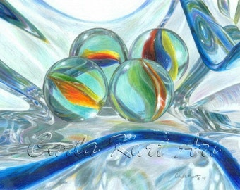 BOWL OF MARBLES Signed Print by Carla Kurt