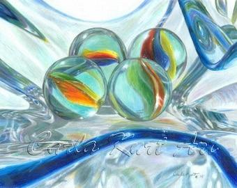 BOWL OF MARBLES Original art by Carla Kurt