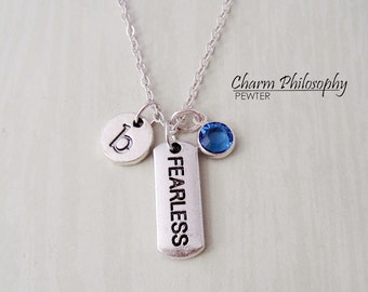 Fearless Necklace -  Motivational Word Jewelry - Monogram Personalized Initial and Birthstone
