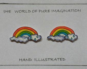Rainbow earings.Hand ilustrated earings. sterling silver 925.stud earings.hand made.plastic .hand drawn.fair trade.TWOPI1DB