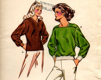 Unused KWIK SEW Pattern #970 Ladies Pullover Tops Size XS-L For Knits or Wovens Vintage Sewing 1990's