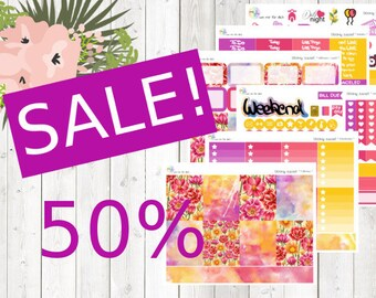 SALE - weekly kit - bloomy sunset (Erin Condren and Happy Planner Stickers)