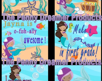 Digital: Mermaid Maidens Lunch Box Notes (Personalized)