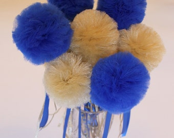Graduation Party Centerpiece, Tulle Pom Pom Wands, Blue and Gold or Choose Your Colors, DELUXE , 10 pc set