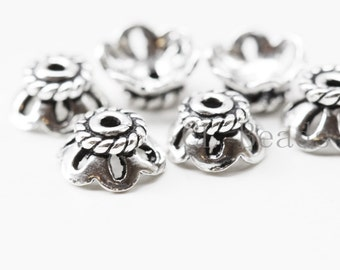 4pcs Oxidized Sterling Silver Caps - 6x3mm