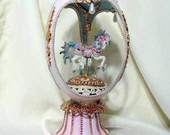 Carousel Horse Emu Egg in the Faberge Style