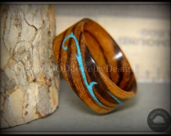 """Bentwood Ring - """"Scroll"""" Zebrawood Ring with Turquoise Inlay"""