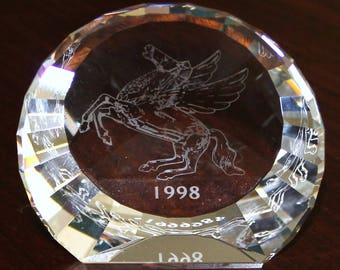 Swarovski Crystal Pegasus Paperweight Disc 60 mm Mint In Box