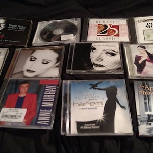 Lot of 12 Easy Listening, Relaxing Music CD's Sarah Brightman, Anne Murray, Piano moods, night sounds, etc. all excellent with cases