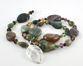 Indian Jasper Necklace / Forest Green Jewelry / Amethyst Crystal / Sterling Silver Leaf / Gemstone Jewelry / Autumn Necklace / Topaz Mocha