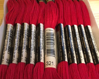 DMC 321 Red Embroidery Floss 2 Skeins 6 Strand Thread for Embroidery Cross Stitch Needlepoint Sewing Beading