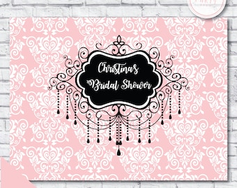 Bridal shower backdrop - fashion bridal shower backdrop - paris bridal shower backdrop - banner - chandelier bridal shower backdrop