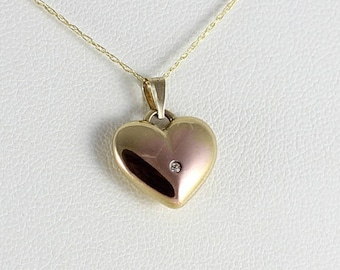 10K Yellow Gold Puffy Heart Pendant Only