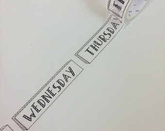 Days Of The Week Washi Tape - Planner Tape - Black And White Washi Tape