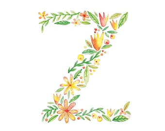 Z Uppercase z | Letter, typographic, alphabet. Wall art, print, gift, watercolour, floral