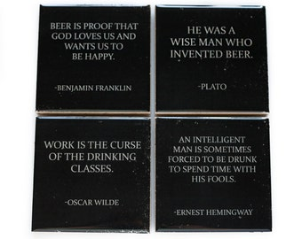 Beer Quote Coaster Set (4 Stone Coasters, Black and White) Famous Beer Quotes, Barware Gift for Him