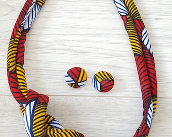 African Rope Necklace and Earring Set Print Necklace Set Fabric Necklace Bright Coloured necklace Ethnic Jewellery Tribal Accessories