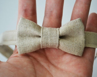 Infant Bow Tie in Neutral Linen, Baby Bow Ties, Baby Boy Accessories, Baby Shower Gift