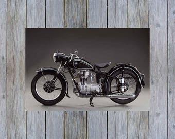 1953 BMW R25 vintage motorcycle poster print