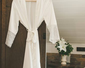 Satin and Lace Bridal Robe Off White