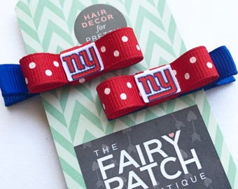 New York Giants, hair clips, hair accessories, baby shower gift, baby gift, New York, baby bows, baby girl, NY giants hair clip, hair bows
