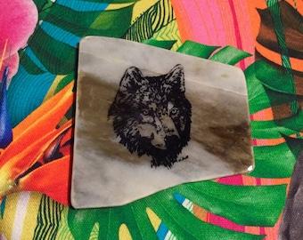 Natural Stone Coaster - Wolf Head