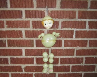 Vintage 1920s Dilapidated Large Celluloid Strung Doll Hanging Crib Toy