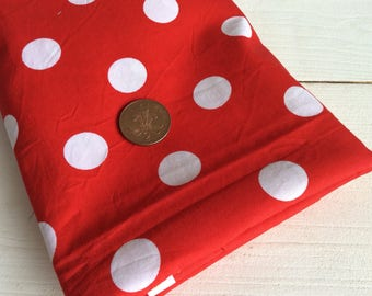 Red Polka Dot Fabric Piece - Red and White Fabric - 109 x 110 cm - Craft Fabric - Sewing Fabric - Red Spotty Fabric