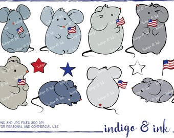 Patriotic July 4th Independence Day Mice Digital Download Clipart