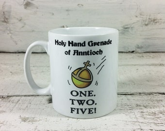 New Holy Hand Grenade of Antioch 11oz Gift Mug One, Two, Five! Cup Present Monty Python's Flying Circus the Holy Grail Spamalot