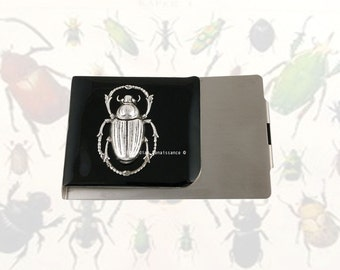 Scarab Large Money Clip Wallet Inlaid in Hand Painted Black Enamel Gothic Victorian Egyptian Beetle with Personalized and Color Options