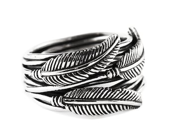 Feather Ring Mens Ring Feather Jewelry Silver Feather Ring Sterling Silver Ring Silver Ring Mens Jewelry Feather Wire Wrapped Ring Feathers