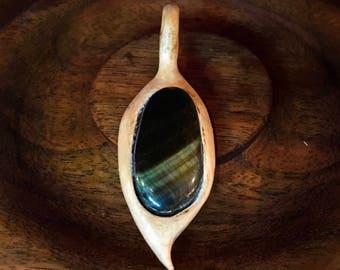 Tigerseye in Wooden Leaf Pendant