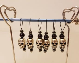 Metal Skull stitch markers
