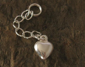 2 Sterling Silver Chain Extenders with Puffed Heart Charm on End - 1 Inch CH114