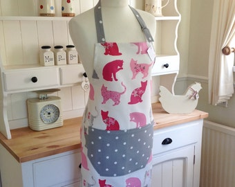 Apron, Cats Apron, Grey Dotty Apron, Ladies' Apron, Adjustable Apron, Full Apron, Womens Apron, Baking, Kitchen Accessory, Gift for Her, Cat