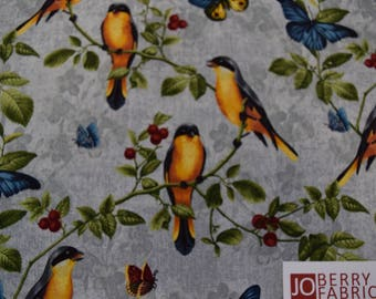 Birds and Butterflies from the Walk by Faith Collection by Christine Adolph for Blank Quilting.  Quilt or Craft Fabric, Fabric by the Yard.