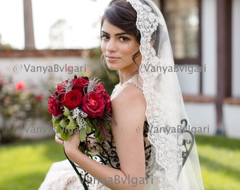 Lace veil Mantilla with Classic Spanish look with Beaded lace edge in  fingertip length  for Spanish wedding  or Catholic ceremony