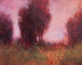 Landscape painting impressionist landscape tonal modern art original painting trees sunset by Don Bishop