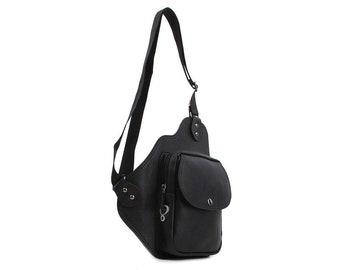 Mens Faux Leather Sling Bag Crossbody Bag Shoulder Backpack 718