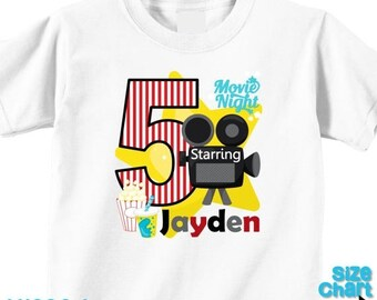 SALE Personalized Movie Night Movies Cinema Boys Birthday Party Shirt Movie Sleepover Birthday Shirt - Available for Girls Too!
