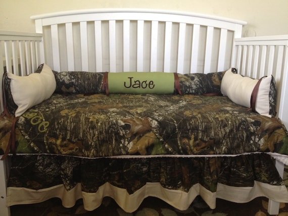 7pc Camo Mossy Oak Fabric Pink Crib Bedding Nursery Set: Camo Mossy Oak And Sage And Ivory 4 Pc Crib Bedding Set With
